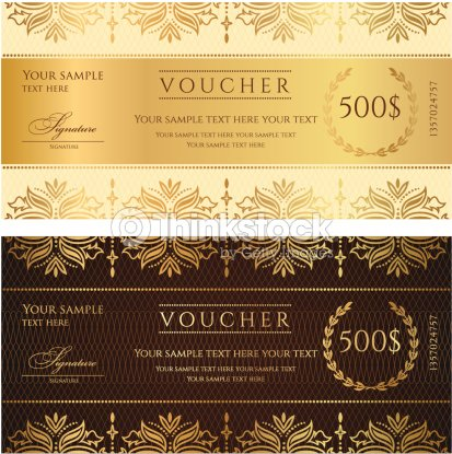 gold ticket voucher gift certificate coupon template with floral
