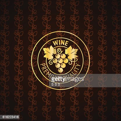Gold wine label design : Vector Art