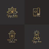 Gold yoga logo vector set on the black background. Vintage hipster design.