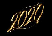 Handwriting calligraphic 2020 logotype on black background. Italic hand script.