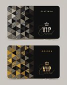 VIP golden and platinum card template. Vector illustration.