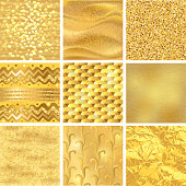 Golden background or gold texture vector pattern for luxury textured wallpaper with textural goldleaf backdrop yellow set.