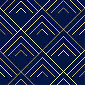Golden blue geometric ornament. Seamless pattern for web, textile and wallpapers