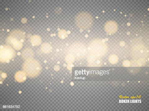 Golden bokeh lights with glowing particles isolated. Vector : stock vector
