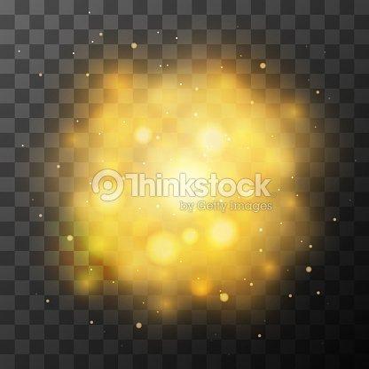 Golden Bright Light Magic Effect In The Dark Vector Art