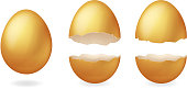 Golden broken eggs cracked open easter design eggshell 3d realistic icon isolated vector illustration