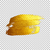 Golden brush strokes isolated on transparent background. Vector design element.