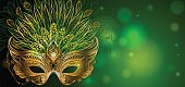 Vector Illustration. Golden carnival mask with feathers. Beautiful Concept design for greeting card, banner or flyer.Vector Illustration. Golden carnival mask with feathers. Beautiful concept design f