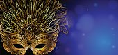 Vector Illustration. Golden carnival mask with feathers. Beautiful сoncept design for greeting card, invitation, banner or flyer.