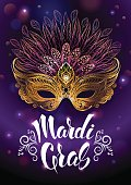 """Golden carnival mask with feathers. Vector illustration, beautiful background with hand drawn lettering """"Madrid Gras"""" for poster, greeting card, party invitation, banner, flyer to other design."""