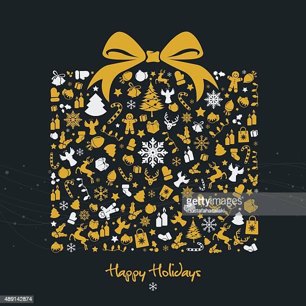 Boîte cadeau de Noël or avec symboles