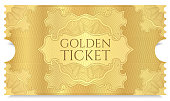 Concert ticket on gold background with curve floral pattern. Useful for any movie festival, party, film, event, entertainment show