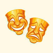 Vector illustration of a golden comic and tragic theater mask in a cartoon style