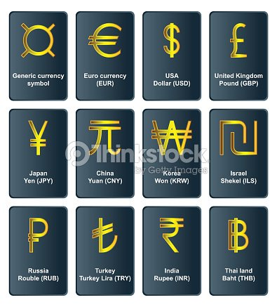 Golden Currency Symbols Of The World Vector Art Thinkstock