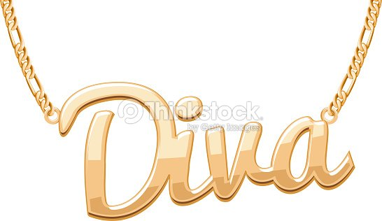 Golden diva word pendant on chain necklace vector art thinkstock golden diva word pendant on chain necklace vector art aloadofball Choice Image