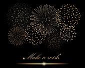 Golden firework show on black background. 'Make a wish' concept. Vector illustration