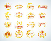 5 star rating emblems set. Isolated Vector illustration.