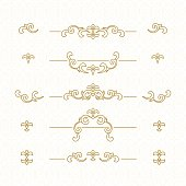 Vector set of decorative elements.  Golden floral borders. Ornate decor   for save the date, birthday, greeting card, wedding invitation, leaflet, poster, certificate, thank you message.