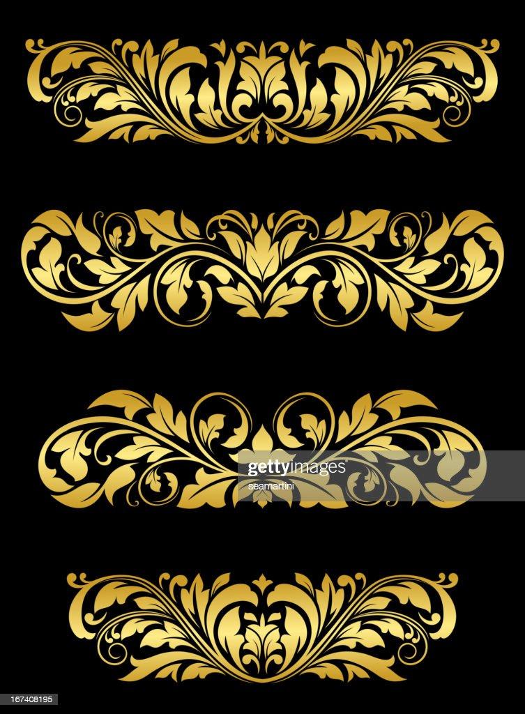 Golden Blumenmuster Verzierungen : Vektorgrafik