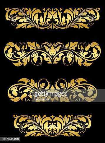 Golden floral embellishments : Vector Art