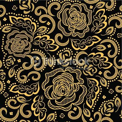 Golden Floral Pattern Vector Art
