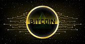 Golden Futuristic Bitcoin concept. HUD s