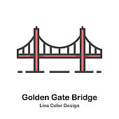 Golden Gate Bridge line color icon