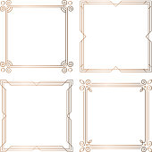 Set of 4 geometric square frames in Art Deco style. Vector illustration, design elements. Four golden frames isolated on white background,