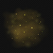 Golden glitter dust cloud with stars and sparkles