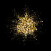 Golden glitter particles explosion or star dust splatter. Vector abstract sparkling firework confetti on black background for Christmas or luxury fashion cosmetic design