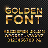 Golden glossy vector font or gold alphabet. Yellow metal typeface. Metallic golden abc, alphabet typographic luxury illustration
