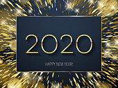 Golden glow 2020 new year background vector illustration. Calendar greeting card design typography template. Frame with shining stars and sparkles with bokeh.
