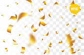 Random falling golden glitter transparent sparkle background. Christmas banner, New Year greeting, invitation, postcard. Shimmer vector illustration.