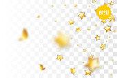 Random falling golden star glitter transparent sparkle background. Christmas banner, New Year greeting, invitation, postcard. Shimmer vector illustration.