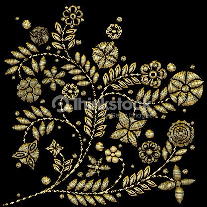 Golden lace vector design contemporary lace background ornamental golden lace vector design contemporary lace background ornamental flowers embroidery style floral background for wedding invitation stopboris Images
