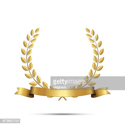 Golden laurel wreath with ribbon isolated on white background. Vector design element. : stock vector