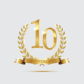 Golden laurel wreaths with ribbons and tenth anniversary year symbol on light background. 10 anniversary golden symbol. Vector anniversary design element.