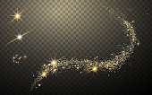 magic like golden glittering light streak element, transparent background
