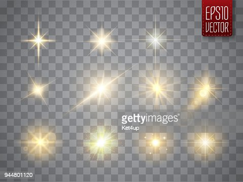 Golden lights sparkles collection. Vector illustration of glowing lens flares, flashes and sparks : Vector Art