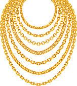 Golden metallic chain necklaces vector set. Gold fashion luxury decoration illustration
