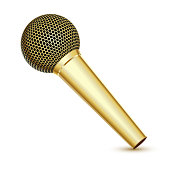 Golden Microphone on white background. Vector Illustration.