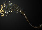 Vector Illustration of Golden music notes background  eps10