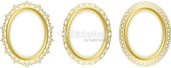 Golden Oval Frames Vector Set Art