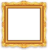 Gold Vintage Picture Frame. EPS10 Vector Illustration