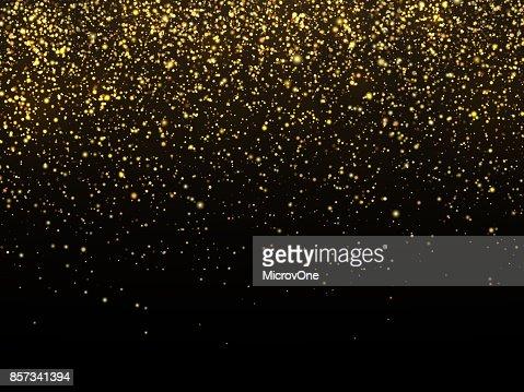 黄金の雨は、黒の背景に分離されました。金粒テクスチャお祝い壁紙 : ベクトルアート