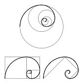 Golden ratio template set. Proportion symbol. Graphic Design element. Golden section spiral. Vector illustration