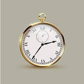 Golden realistic vintage watch isolated on gray background. Vector illustration.