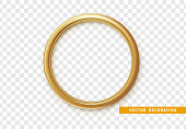 Golden round frame isolated on transparent background.