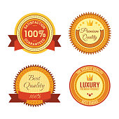 Golden round reward seals collection with inscriptions. Metal badges with writings inside satisfaction 100 percent guaranteed, premium quality, best quality, luxury premium quality and best choice.