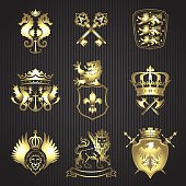 Collection of nine heraldic elements with gold gradient composed of various animals such as lions and sea horse,eagle and dragon , various shields, banner and crowns, sword and key on striped black ba